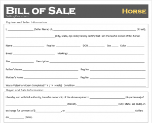 Horse Bill of Sale