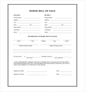 Free Download Equine Bill of Sale Template by billofsale-form,com