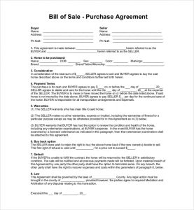 Free Download Horse Bill of Sale Template by hardluckhorses.com
