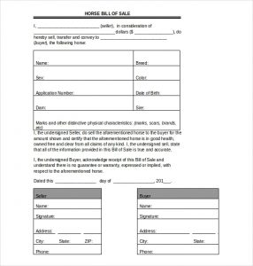 Free Download Printable Horse Bill of Sale Template by wordtemplate.net